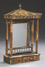 Unusual Anglo-Chinese Bamboo Dressing Mirror, early 20th c., with a concave pagoda top on bamboo support, flanking a rear mirror pla...