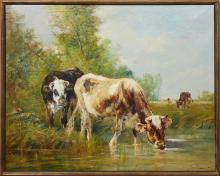 """†Edmond Joseph de Pratere (1826-1888, Belgian), """"Cows in the Field,"""" 19th c., oil on canvas, signed indistinctly in lower right, pres.."""