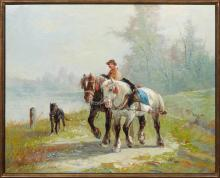 "†Edmond Joseph de Pratere (1826-1888, Belgian), ""Carriage Horses and Dog,"" 19th c., signed lower left, gallery info on artist en vers.."