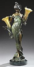 After Pierre Roche (1855-1922), Art Nouveau Style Patinated Bronze Figural Lamp, of a female centering flowers, signed verso, with t...
