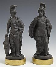 Pair of Black Basalt Porcelain Figures, 20th c., of classical warriors, by Mottahedeh, Italy, on gilt bases, Tallest- H.- 10 in., Di...