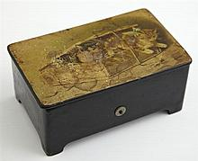 Diminutive Papier-Mâché Cylinder Music Box, c. 1900, the lid with a print of kittens, lacking the winding key, H.- 2 1/4 in., W.- 5...