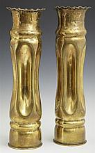 Two Pairs of Brass Trench Art Vases, c. 1918, one with scalloped everted rims and crimped sides, the other with pokerwork and relief...