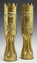 Two Pairs of Brass Trench Art Vases, one c. 1920, with scalloped rims and pokerwork and floral decoration, engraved