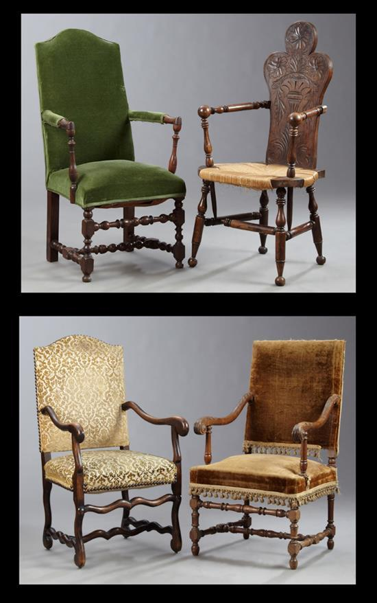 four french fauteuils 19th c consisting of three louis xi. Black Bedroom Furniture Sets. Home Design Ideas