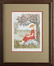 """Aida Whedon (New Orleans), """"Eve,"""" 20th c., etching in colors, 33/150, pencil numbered and titled l.l. margin, pencil signed l.r. mar..."""