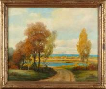 """†Howard Atkinson, """"The Road to the Sea,"""" 20th c., oil on canvas, signed l.r., presented in a gilt frame, H.- 23 3/4 in., W.- 29 3/4 in."""