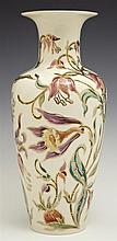 Zsolnay Ceramic Baluster Vase, 20th c., with an everted rim, the sides with gilt and polychromed relief floral and leaf decoration,...