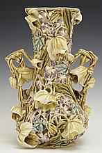 Zsolnay Reticulated Polychrome Baluster Vase, 19th c., with relief floral decoration, the bottom incised Zsolnay, Pecs, with the fir...