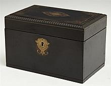 French Boulle Dresser Box, 19th c., with line and floral inlay, H.- 4 1/4 in., W.- 6 1/2 in., D.- 4 in.