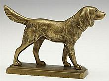 Gilt Cabinet Bronze of a Pointer, early 20th c., on an integral stepped octagonal base, H.- 4 1/4 in., W.- 6 5/8 in., D.- 2 1/8 in.