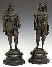 Pair of Patinated Spelter Figures, 19th c., of medieval artists, on ebonized cast iron bases, H.- 14 3/8 in., Dia.- 5 3/8 in.