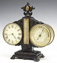Patinated Spelter and Brass Barometer/Thermometer/Clock, late 19th c., with relief decoration, the thermometer in Fahrenheit and Rea...