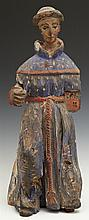 Carved Wooden Santo, early 19th c., with original paint, H.- 18 in., W.- 6 1/2 in., D.- 5 1/2 in.