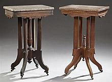 Two Victorian Eastlake Carved Mahogany Marble Top Lamp Tables, c. 1890, with highly figured Tennessee Brown marble tops, on reeded s...