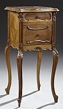 French Louis XV Style Parquetry Inlaid Walnut Marble Top Nightstand, early 20th c., the inset serpentine highly figured rouge marble...