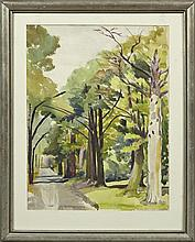 """†Nell Pomeroy O'Brien (1897-1966, New Orleans), """"Road Through the Hills,"""" 20th c., watercolor, framed, H.- 19 3/8 in., W.- 14 1/2 in."""