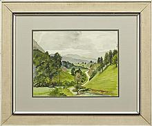 """†Nell Pomeroy O'Brien (1897-1966, New Orleans), """"Hilly Landscape,"""" 20th c., watercolor, framed, H.- 11 1/2 in., W.- 15 in."""