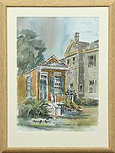 """†Attributed to Nell Pomeroy O'Brien (1897-1966, New Orleans), """"Dufossat near Camp,"""" 20th c., watercolor, titled l.r., framed, H.- 20.."""