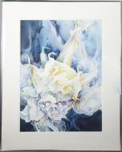 """†David Maddern (Florida), """"Fugue on a Secondary Triad,"""" 20th c., watercolor, titled and signed upper right, and on label verso, frame.."""