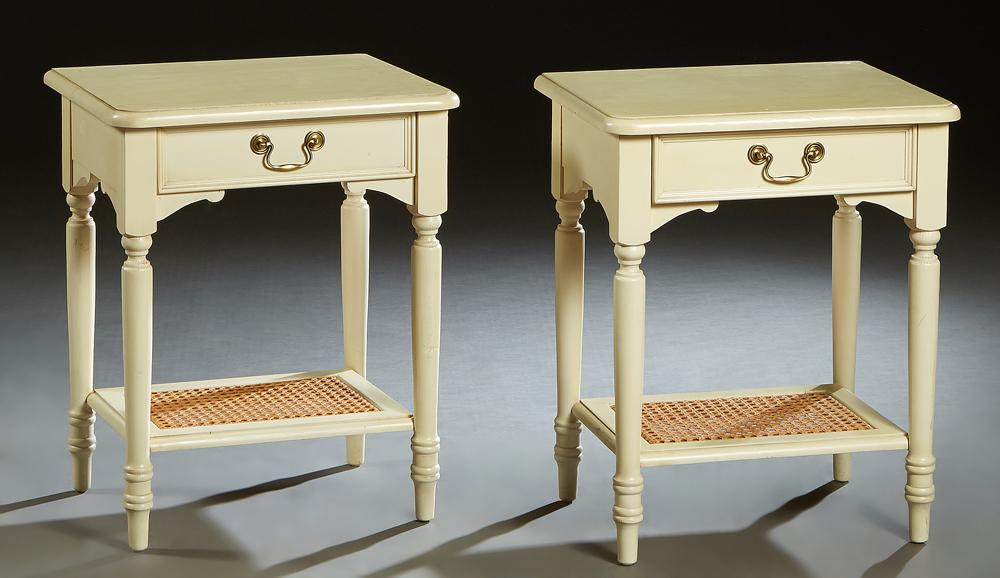 Pair of Louis Philippe Style Polychromed Carved Beech Nightstands, 20th c., by Laura Ashley, the rounded edge and corner top above a...