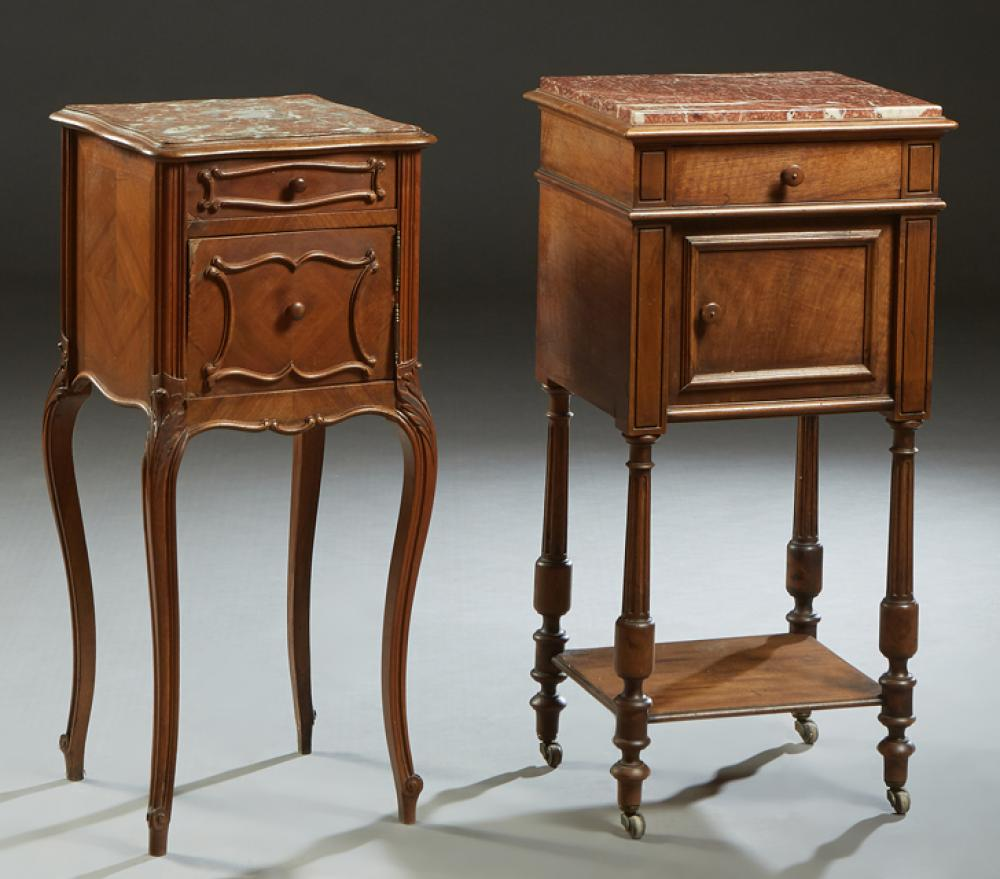 Two French Carved Mahogany Marble Top Nightstands, early 20th c., one Louis XV style with a figured brown marble over a frieze drawe...