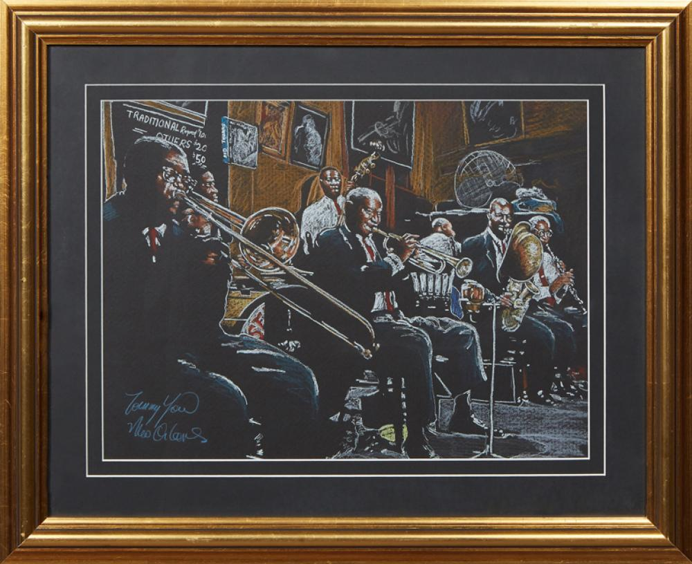 """†Tommy Yow (New Orleans), """"Preservation Hall Jazz Band,"""" 20th c., chalk pastel on paper, signed lower left, presented in a gilt frame.."""