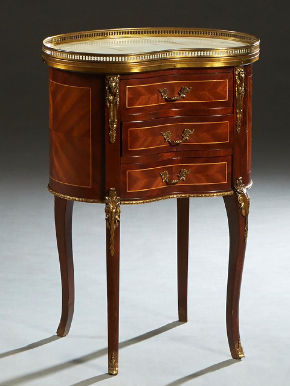 French Louis XV Style Ormolu Mounted Inlaid Mahogany Marble Top Nightstand, 20th c., the brass galleried kidney shaped figured white...