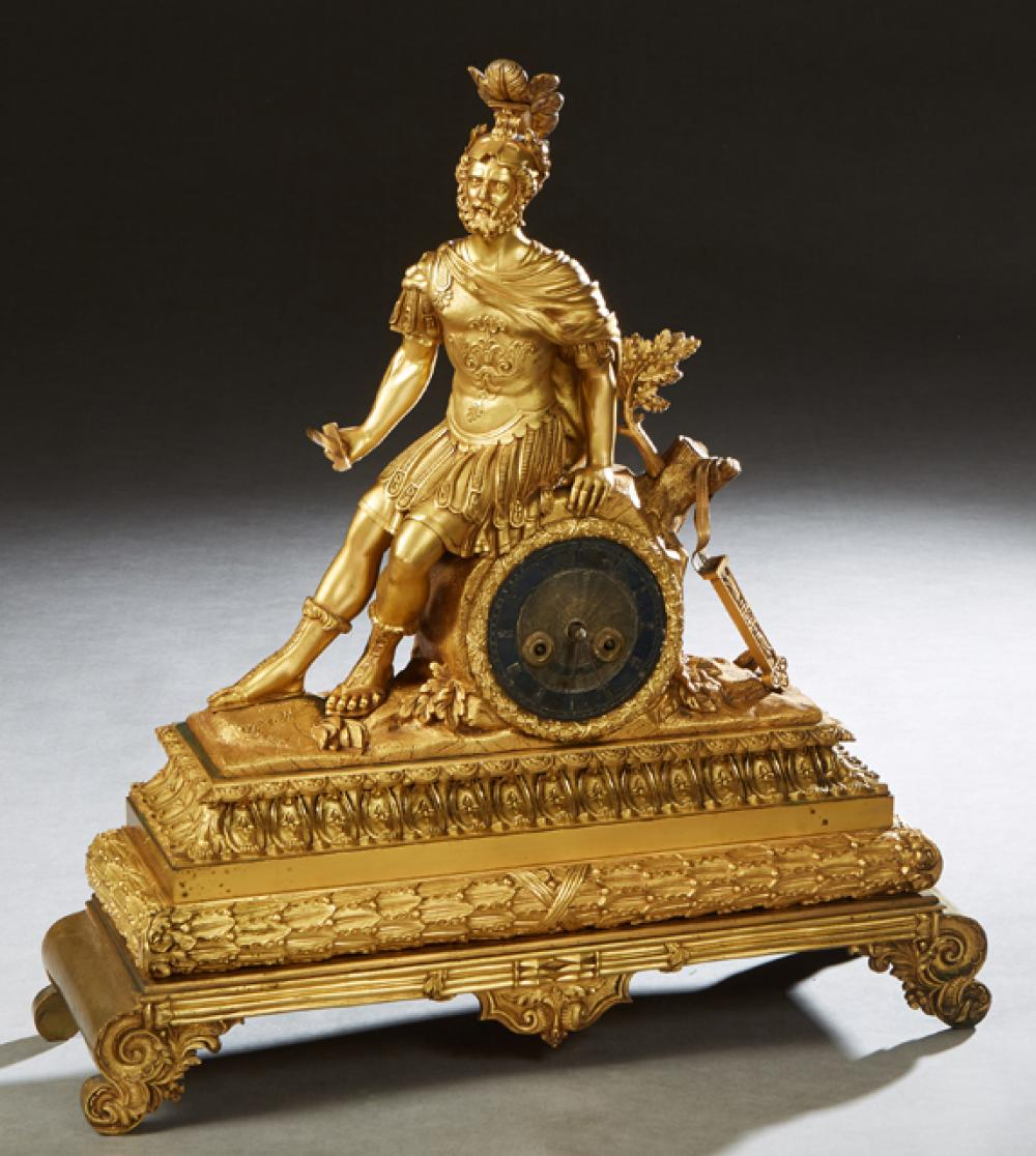 Continental Gilt Bronze Figural Mantel Clock, 19th c., with a seated figure of a classical warrior, perhaps Menelaus, leaning on a t...