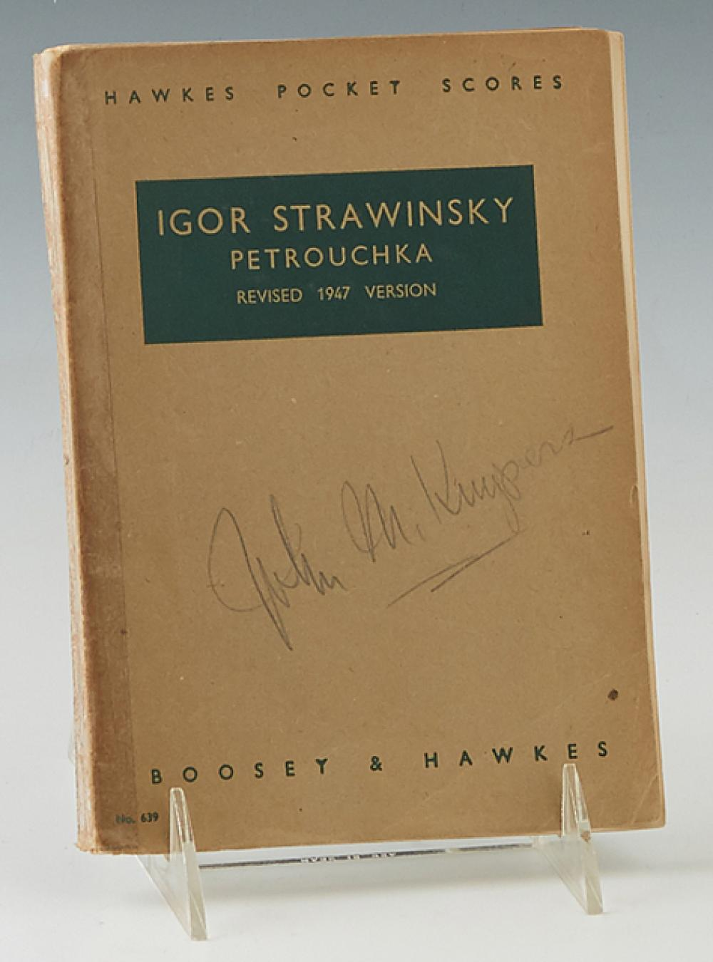 """Igor Stravinsky (1882-1971), """"Petrouchka,"""" 1947, musical score, published by Boosey & Hawkes, pen signed on the title page by Igor S..."""