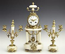 Louis XV Style Bronze and Alabaster Three Piece Clock Set, 19th c., by A. D. Mougin, the gilt bronze mounted drum clock with an alab...