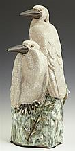 Large Chinese Glazed Earthenware Figural Group of Kingfishers, 20th c., with a crackled finish, H.- 17 in., W.- 9 in., D.- 9 in.