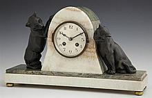 Unusual Patinated Spelter, Marble and Onyx Art Deco Mantel Clock, c. 1940, time and strike, the arched central clock flanked by two...