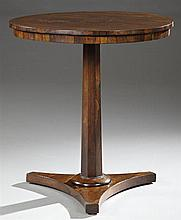 Diminutive Rosewood Circular Lamp Table, c. 1820, on a tapered octagonal support, to a tripartite base, H.- 26 in., W.- 24 1/4 in.