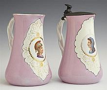 Pair of French Porcelain Pitchers, 19th c., with reserves of classical figures, with applied twisted handles, one with a hinged pewt...