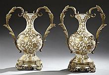 Pair of French Style Bronze Mounted Crackleware Baluster Porcelain Vases, 20th c., with gilt floral decoration, with leaf form handl...