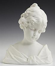 Alabaster Bust, 20th c., of a pensive young woman, H.- 9 in., W.- 7 1/4 in., D.- 4 in.