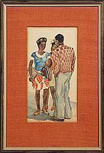 """†William L'Engle (1884-1957), """"Black Trio,"""" 1935, watercolor, pencil signed l"""