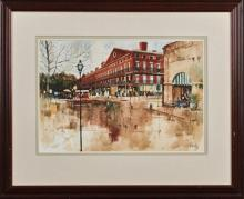 """†Paul Dartez (1919-1995, New Orleans), """"View of the Pontalba from Café du Monde,"""" 20th c., watercolor, signed lower right, presented..."""