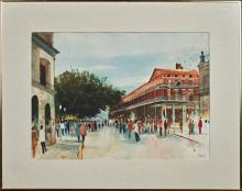 """†Paul Dartez (1919-1995, New Orleans), """"View of the Pontalba,"""" watercolor, signed lower right, in a metal frame with a linen mat, H.-.."""