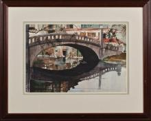 """†Paul Dartez (1919-1995, New Orleans), """"Bridge at City Park,"""" watercolor, signed lower left, presented in a mahogany frame, H.- 14 in.."""