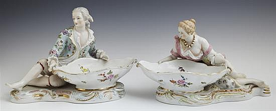 Pair of German Polychromed Porcelain Figural Sweetmeats Bowls, late 19th/early 20th c. in the style of Meissen, probably Dresden fac...