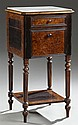 Louis XVI Style Burled Elm Marble Top Nightstand, c. 1870, the inset canted corner dished marble top over a frieze drawer and a lowe...