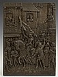 Patinated Spelter Relief Wall Plaque, 19th c., depicting Joan of Arc's triumphal procession, H.- 10 3/4 in.