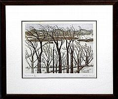 """Aida Whedon (1915-1993, New York) """"Vermont"""" and """"New Orleans Oaks"""", two limited edition color etchings, both signed in pencil l.r., titled l.l., each framed, H.- 9 3/4 in., W.- 18 1/4 In., and H.- 4-1/2 in., W.- 18 in."""