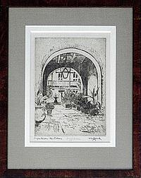 """James Carl Hancock (1898-1966), """"Bosque House New Orleans"""", drypoint etching, signed in ink l. r. margin, titled l. l. margin, pencil marked lower center margin, """"Drypoint State,"""" framed, H.- 10 1/2 in., W.- 7 1/2 in."""