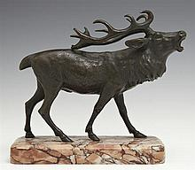 Bronze Figure of an Elk, early 20th c., mounted in a highly figured rouge marble base, H.- 6 3/8 in., W.- 3 1/4 in., D.- 6 3/4 in.