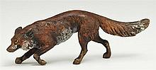 Cold Painted Vienna Bronze Figure, early 20th c., of a running fox, H.- 1 3/4 in., W.- 4 3/4 in., D.- 7/8 in.