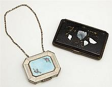 Two Lady's Items, consisting of a mother of pearl inlaid papier mache coin purse, 19th c., and an enameled metal compact, c. 1920, t..