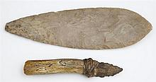Two Native American Items, 19th c., a carved stone spearhead and an antler handled stone knife. (2 Pcs.)